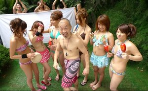 Japanese studs finger and moreover toy pussies of pretty girlfriends during garden party