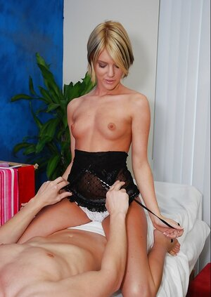 Sex performance from lustful blonde floozy rocking out on client's fuck pole