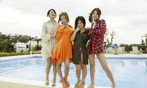 Numerous Japanese chicks gladly pose on camera outdoors by spacious pool
