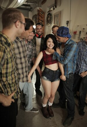 There are seven aroused dudes but cheerful brunette slut will suck completely all purple rods