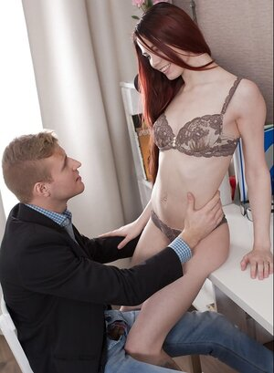 Winsome redhead Lovenia Lux with ease tempts BF into backdoor lovemaking