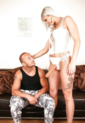 Dominant blonde satisfies BF's dream of being anally penetrated with strapon