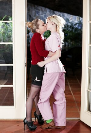 Lady in stockings and delectable blonde gal are more than just friends