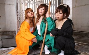 Three bratty Japanese gals provocatively pose being ready to humiliate dude