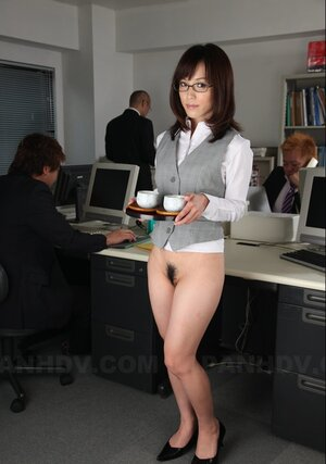 Japanese secretary with undressed pussy and moreover tush doesn't mind if colleagues touch her
