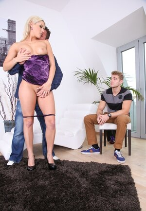 Jealous enjoy gets hot jism explosion on her fanny in front of boyfriend