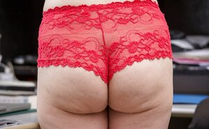 Office worker in red underwear gets on her desk finding her hot pubic topiary