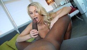 After fingering blonde is in mood to give blowjob and plus ride partner's giant BBC