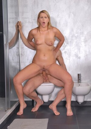 Lad joins blonde GF Nikky Dream in bathroom in time for sex full of foot fetish