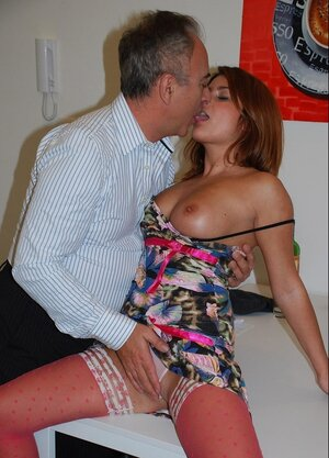 Insatiable redhead in pink stockings Bellina actively rides partner's grown-up purple rod