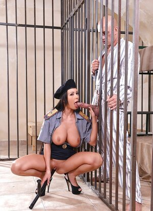 Hot policewoman can see that convict's ramrod is as large as her truncheon