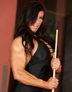 Muscular MILF Angela Salvagno plays billiard when she feels desire to unclothe
